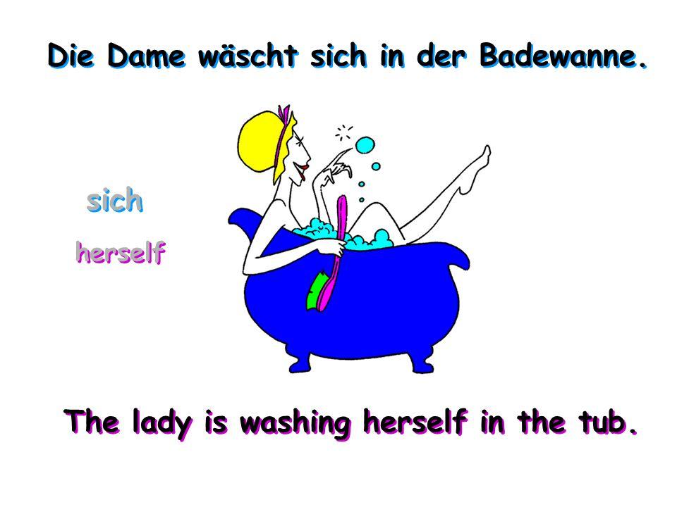 Die Dame wäscht sich in der Badewanne.