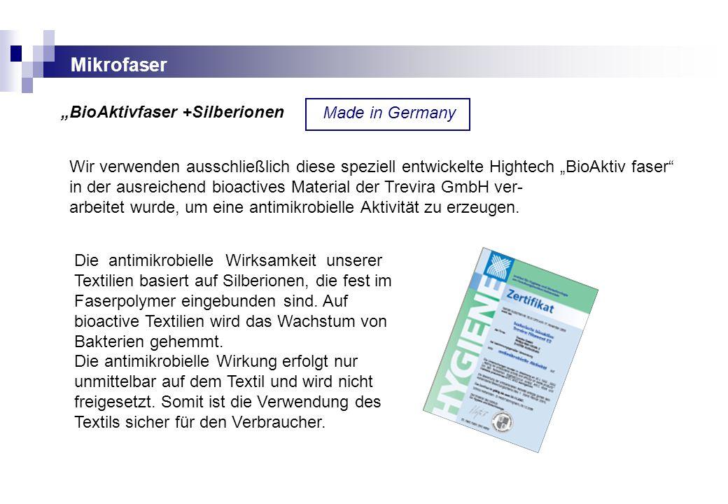 """Mikrofaser """"BioAktivfaser +Silberionen Made in Germany"""