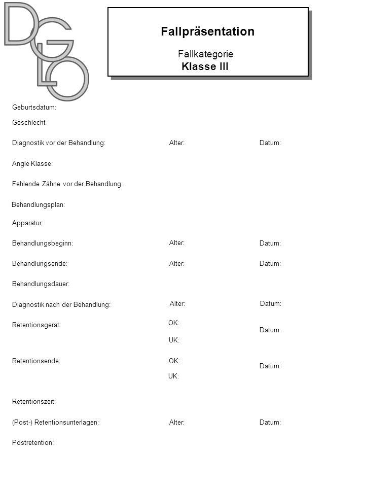 Fallpräsentation Klasse III Fallkategorie: NAME: Geburtsdatum:
