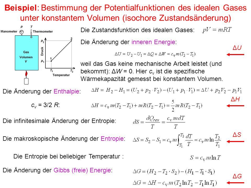 Beispiel: Bestimmung der Potentialfunktionen des idealen Gases unter konstantem Volumen (isochore Zustandsänderung)