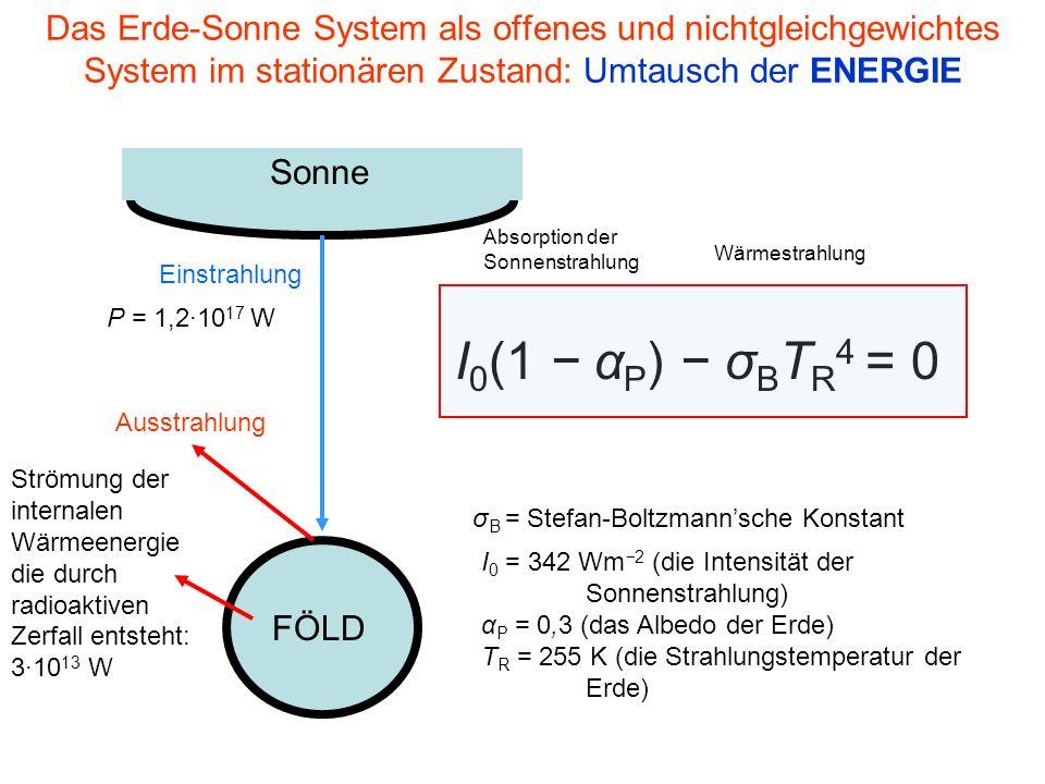 Das Erde-Sonne System als offenes und nichtgleichgewichtes System im stationären Zustand: Umtausch der ENERGIE