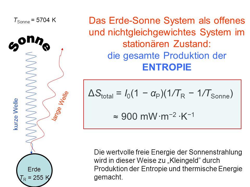 Das Erde-Sonne System als offenes und nichtgleichgewichtes System im stationären Zustand: die gesamte Produktion der ENTROPIE
