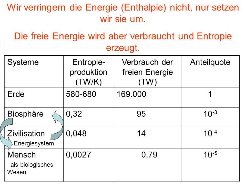 Wir verringern die Energie (Enthalpie) nicht, nur setzen wir sie um.