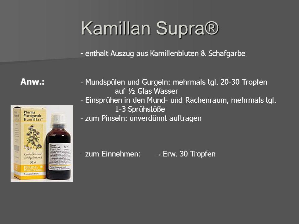 Kamillan Supra® - enthält Auszug aus Kamillenblüten & Schafgarbe.