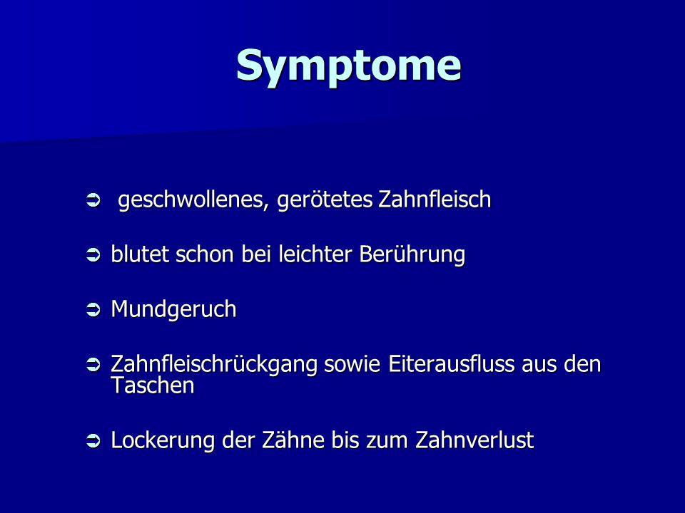 Symptome geschwollenes, gerötetes Zahnfleisch