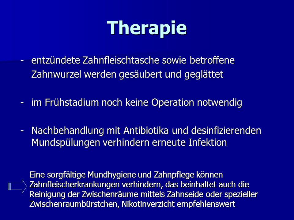 Therapie - entzündete Zahnfleischtasche sowie betroffene