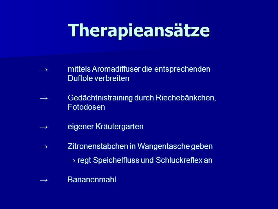 Therapieansätze → mittels Aromadiffuser die entsprechenden Duftöle verbreiten. → Gedächtnistraining durch Riechebänkchen, Fotodosen.