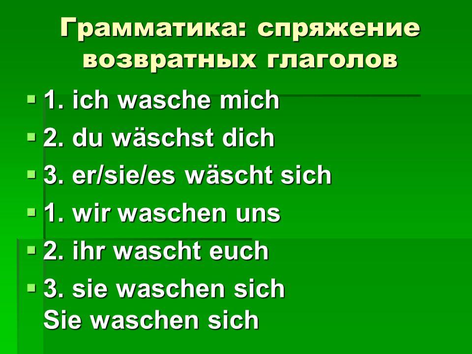 Грамматика: спряжение возвратных глаголов