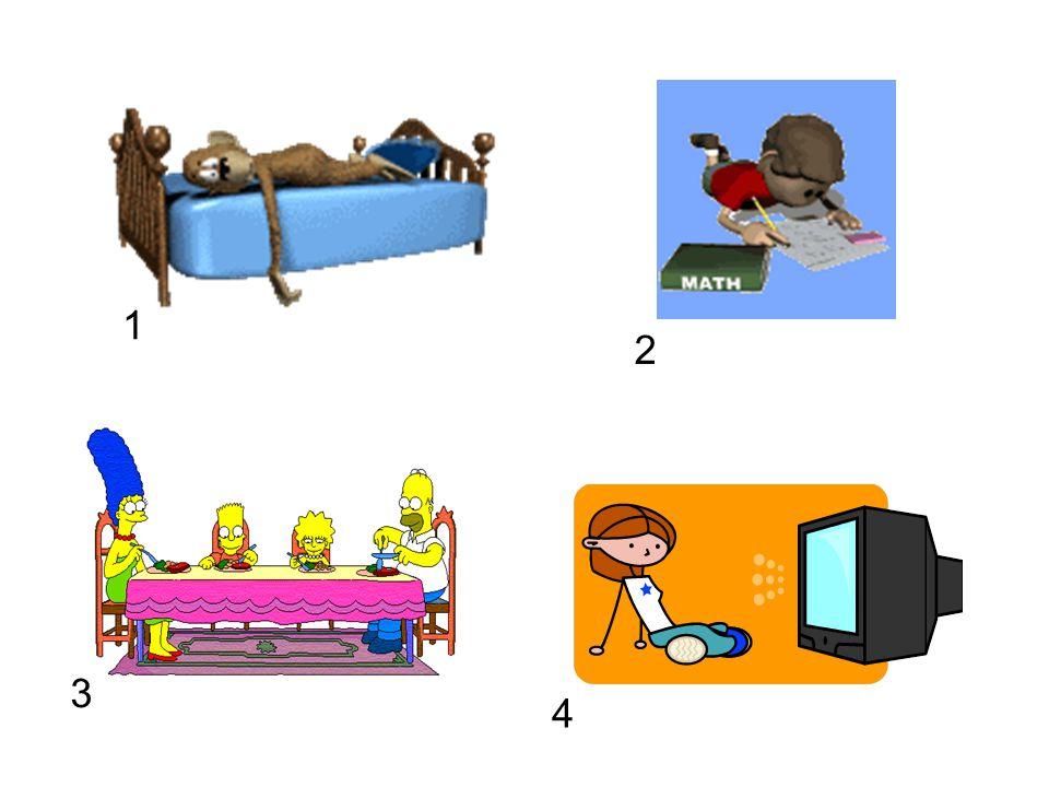 1 2. model the activity by saying Nummer 1, Ich sehe fern , Nummer 2, ch mache mene Hausaufgaben , etc.