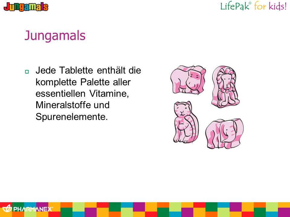 Jungamals Jede Tablette enthält die komplette Palette aller essentiellen Vitamine, Mineralstoffe und Spurenelemente.