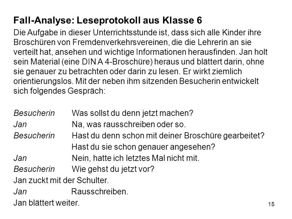 Fall-Analyse: Leseprotokoll aus Klasse 6