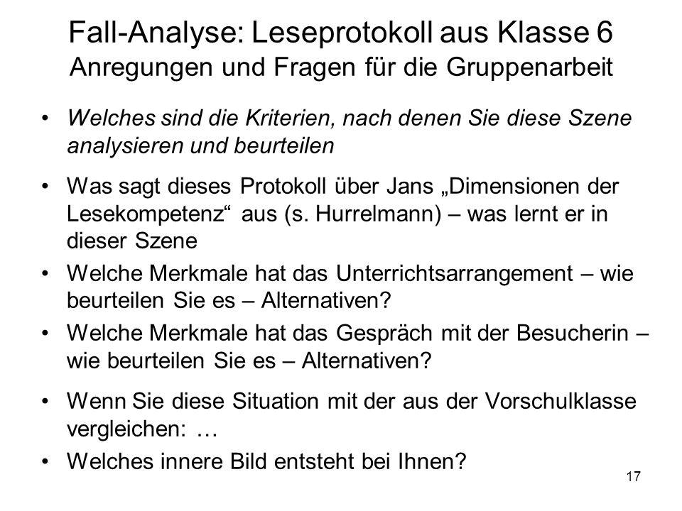 Fall-Analyse: Leseprotokoll aus Klasse 6 Anregungen und Fragen für die Gruppenarbeit