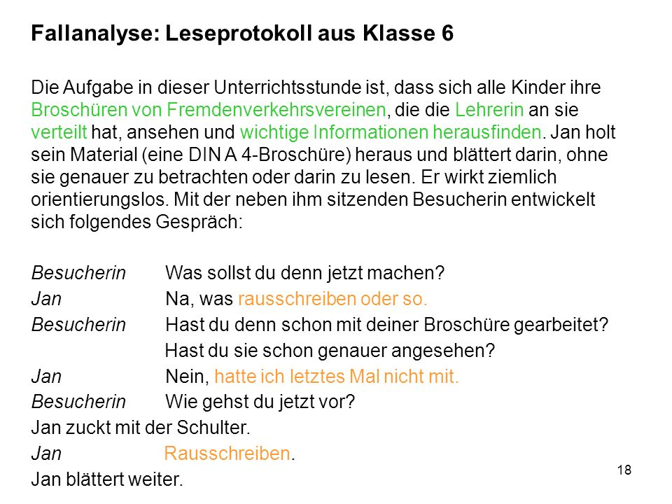 Fallanalyse: Leseprotokoll aus Klasse 6