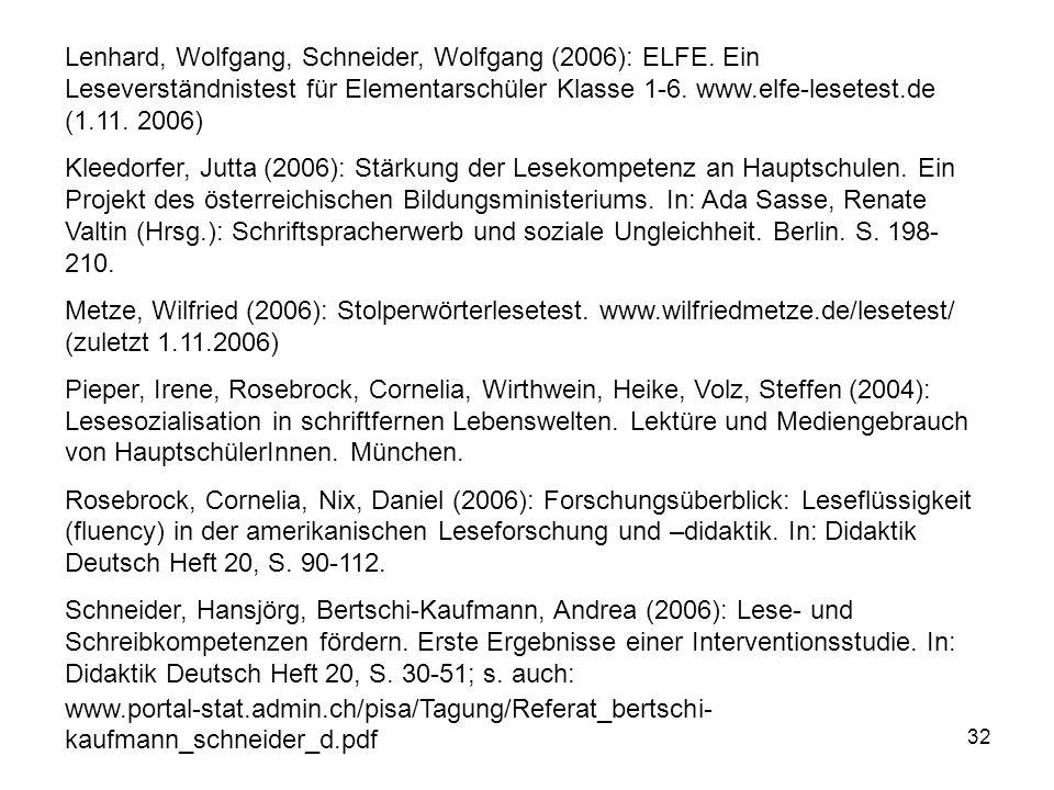 Lenhard, Wolfgang, Schneider, Wolfgang (2006): ELFE