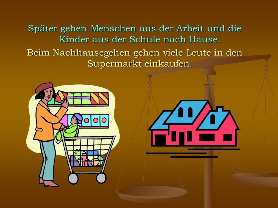 Beim Nachhausegehen gehen viele Leute in den Supermarkt einkaufen.