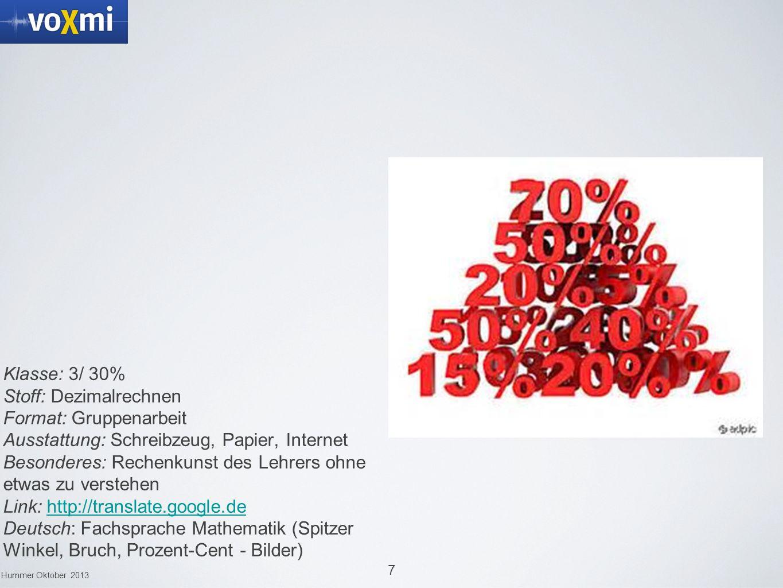 Mathematik Klasse: 3/ 30% Stoff: Dezimalrechnen Format: Gruppenarbeit