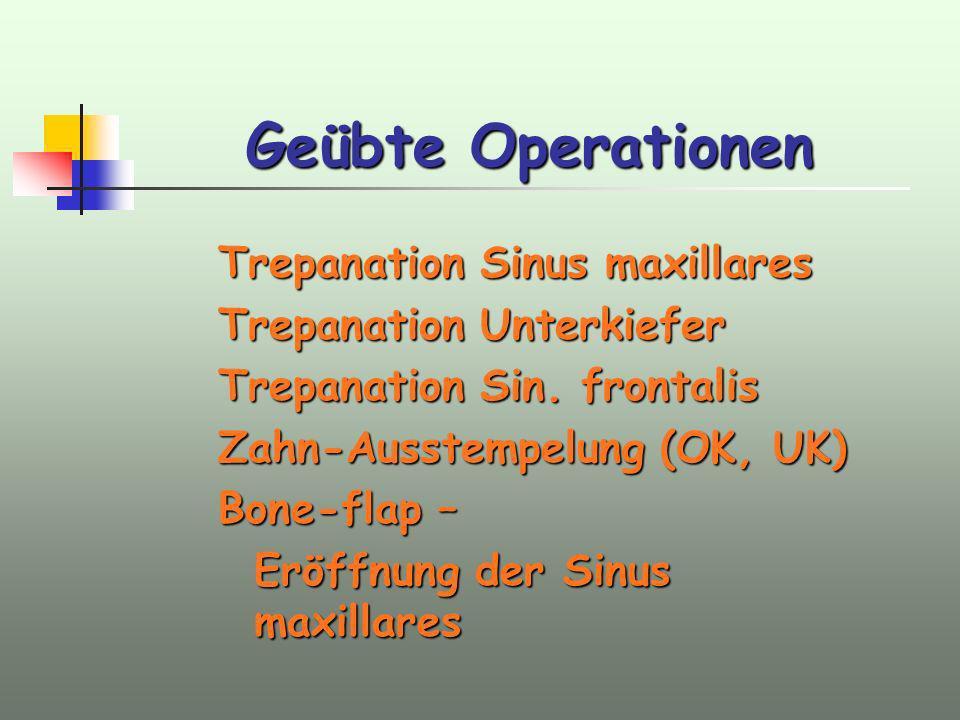 Geübte Operationen Trepanation Sinus maxillares