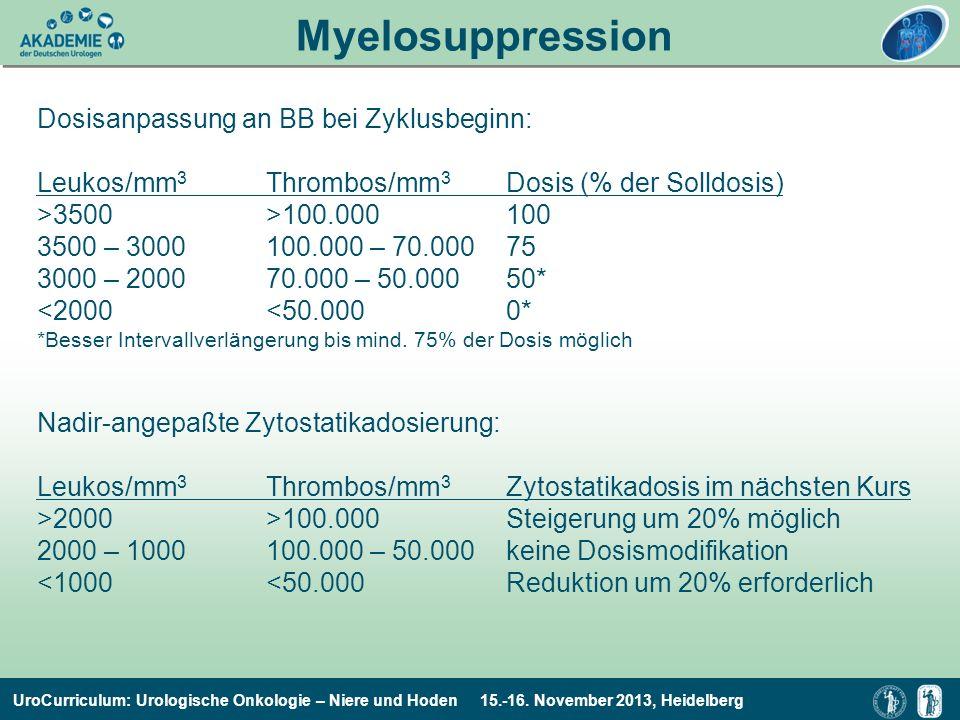 Myelosuppression c Dosisanpassung an BB bei Zyklusbeginn: