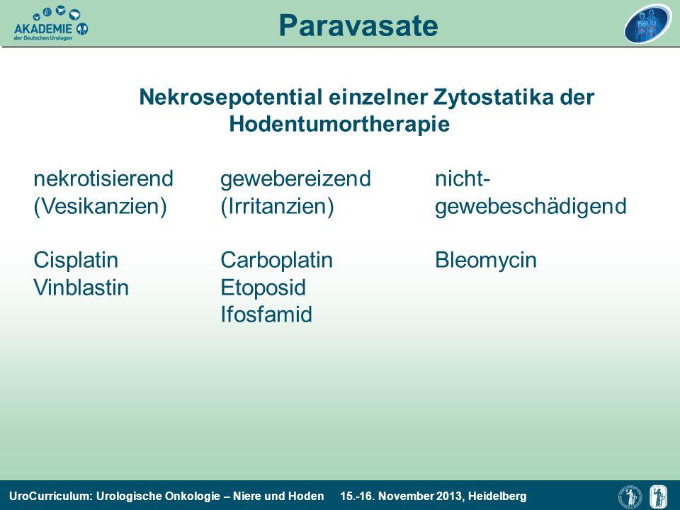 Paravasate Nekrosepotential einzelner Zytostatika der
