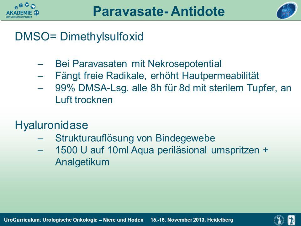 Paravasate- Antidote DMSO= Dimethylsulfoxid Hyaluronidase