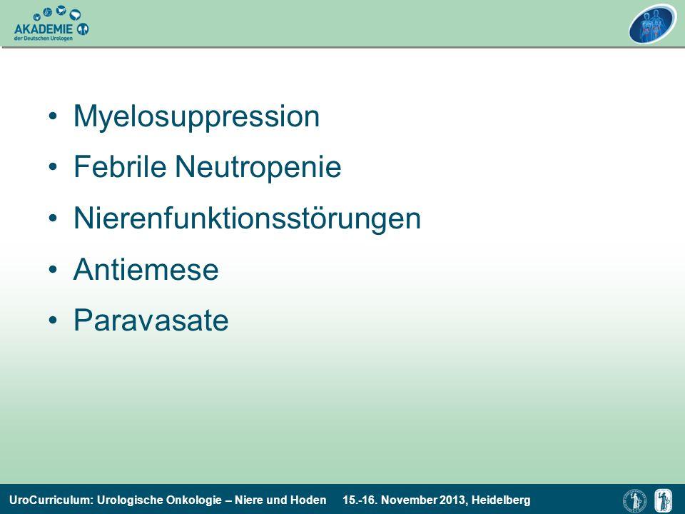 Myelosuppression Febrile Neutropenie Nierenfunktionsstörungen Antiemese Paravasate