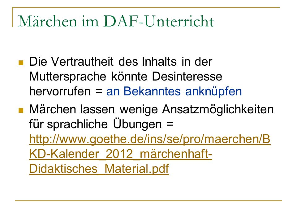 Märchen im DAF-Unterricht