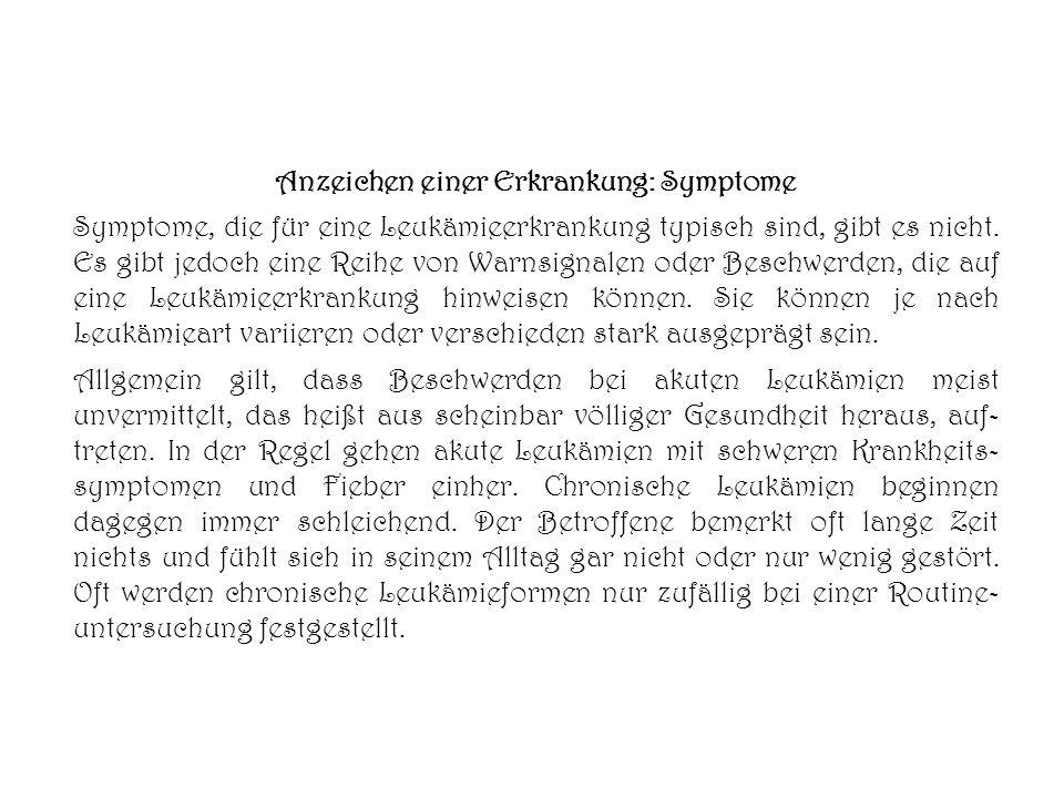 Anzeichen einer Erkrankung: Symptome