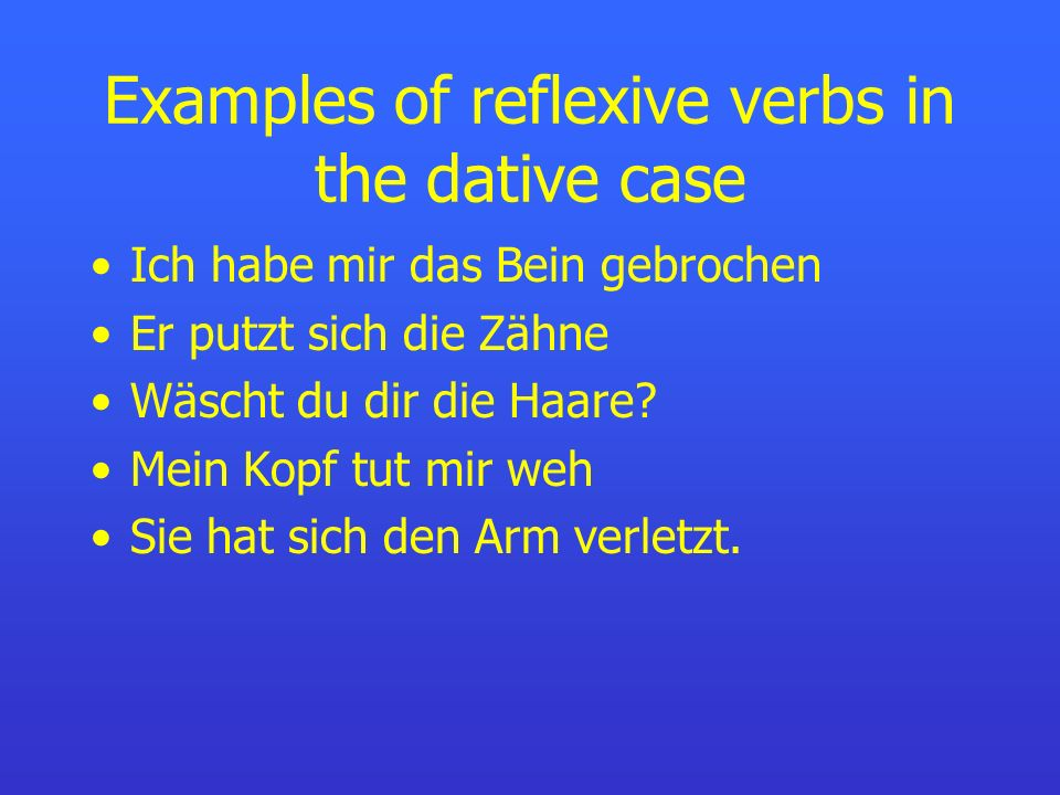 Examples of reflexive verbs in the dative case