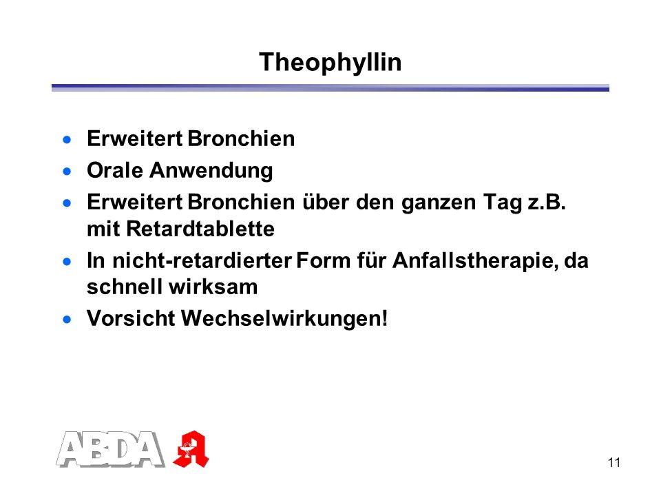 Theophyllin Erweitert Bronchien Orale Anwendung
