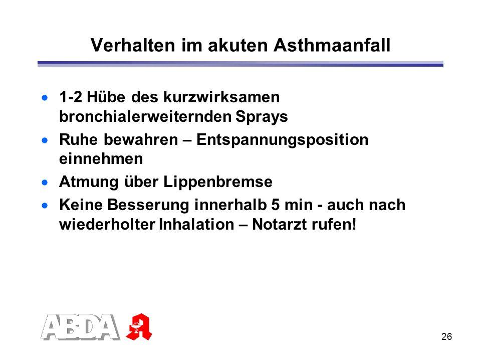 Verhalten im akuten Asthmaanfall