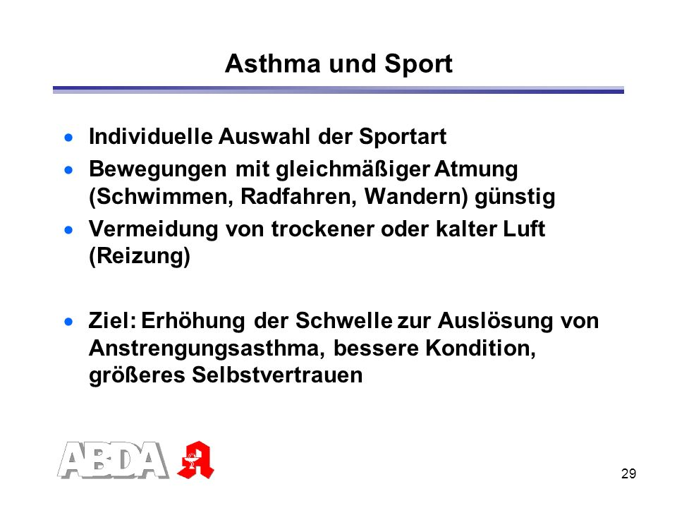 Asthma und Sport Individuelle Auswahl der Sportart