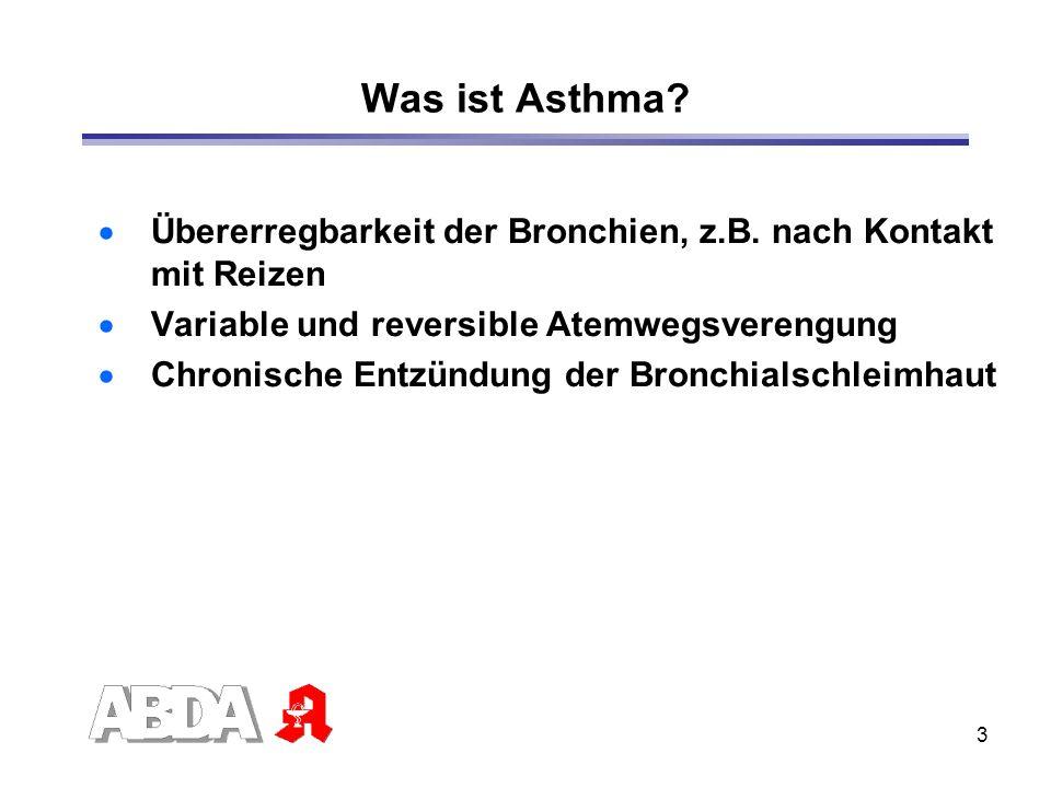 Was ist Asthma Übererregbarkeit der Bronchien, z.B. nach Kontakt mit Reizen. Variable und reversible Atemwegsverengung.