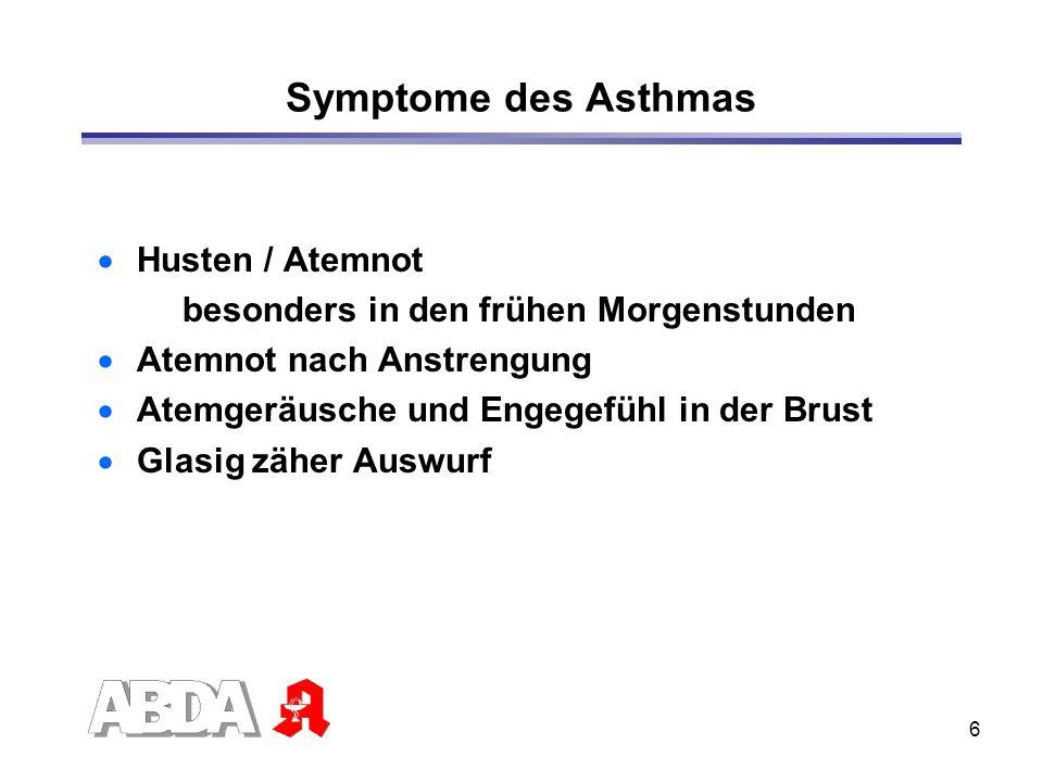 Symptome des Asthmas Husten / Atemnot
