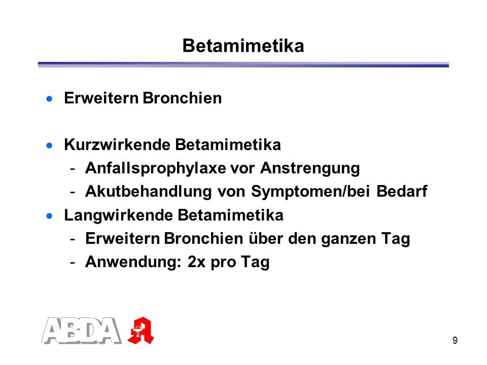 Betamimetika Erweitern Bronchien Kurzwirkende Betamimetika