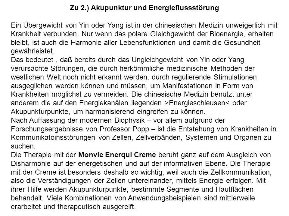 Zu 2.) Akupunktur und Energieflussstörung