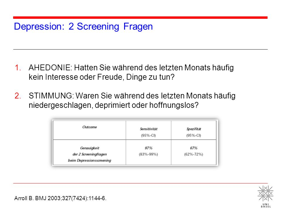 Depression: 2 Screening Fragen