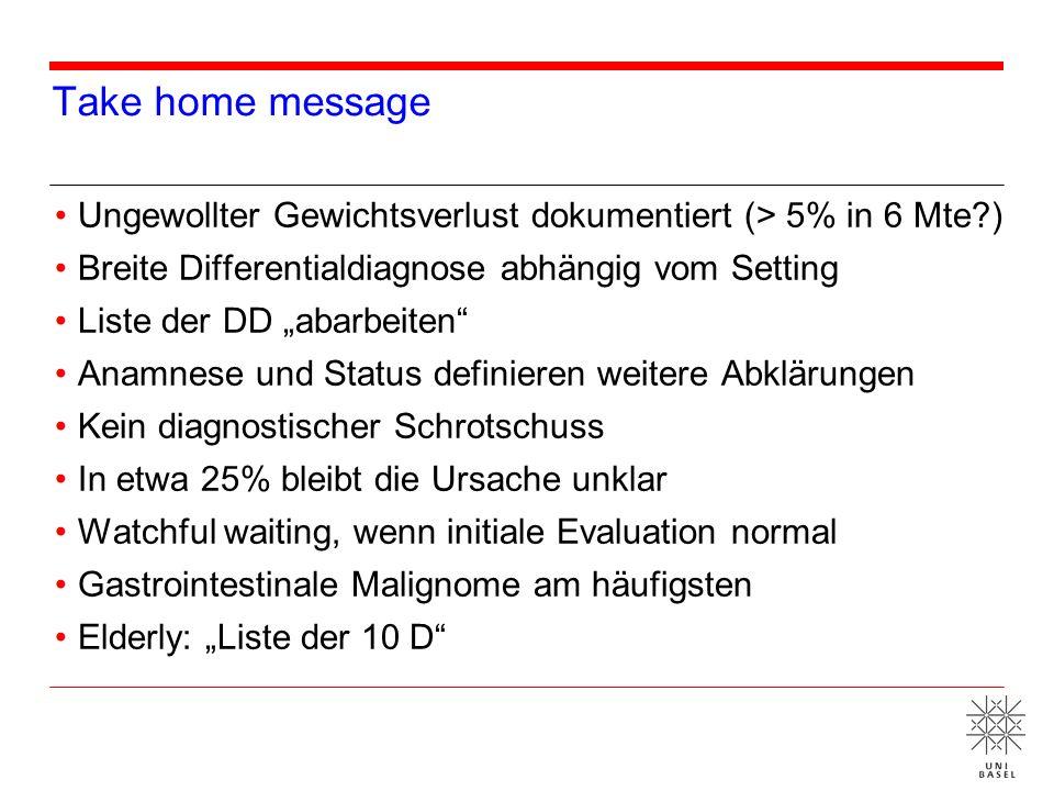 Take home message Ungewollter Gewichtsverlust dokumentiert (> 5% in 6 Mte ) Breite Differentialdiagnose abhängig vom Setting.