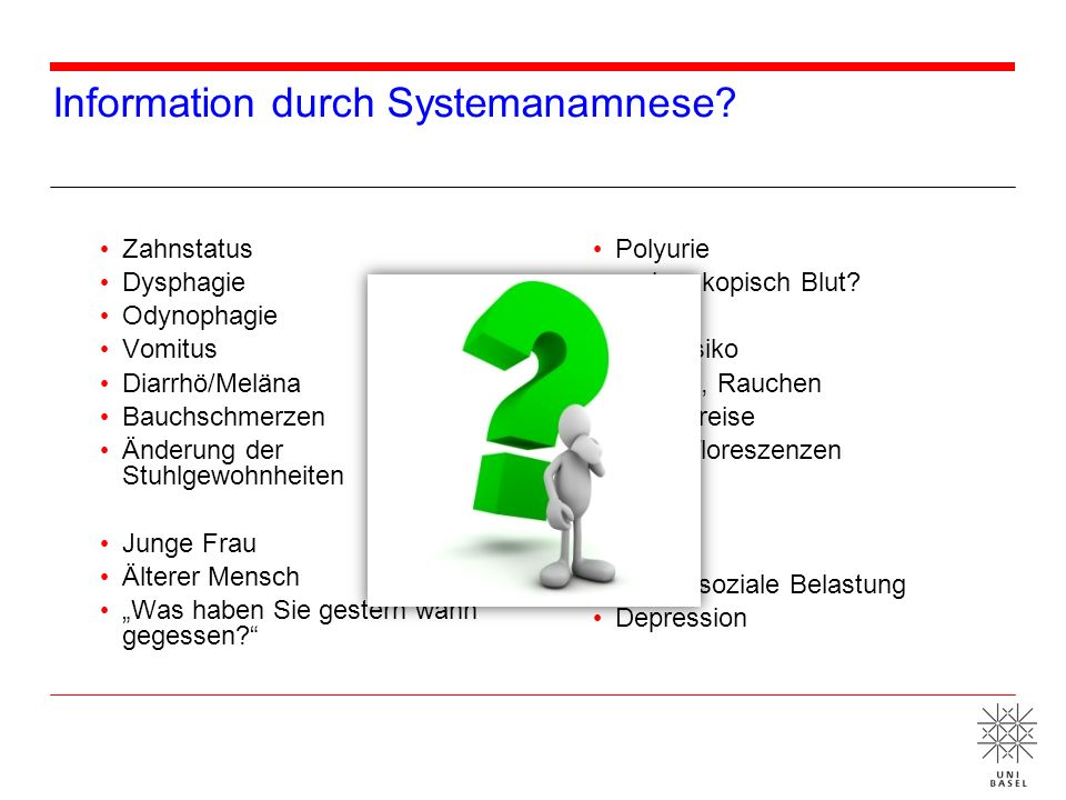 Information durch Systemanamnese