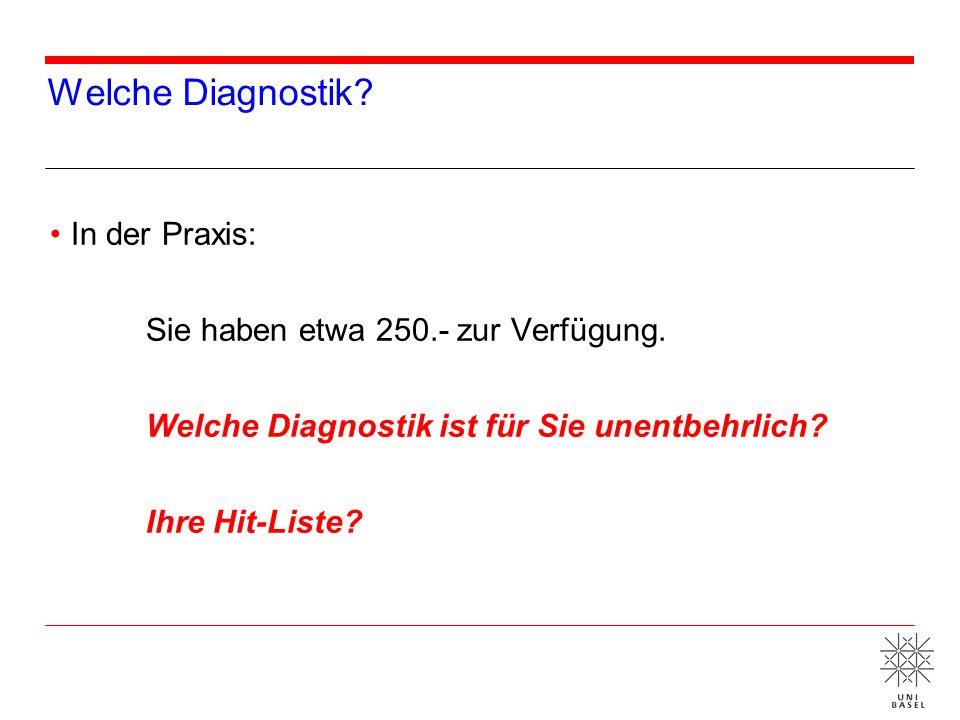 Welche Diagnostik In der Praxis: Sie haben etwa 250.- zur Verfügung.