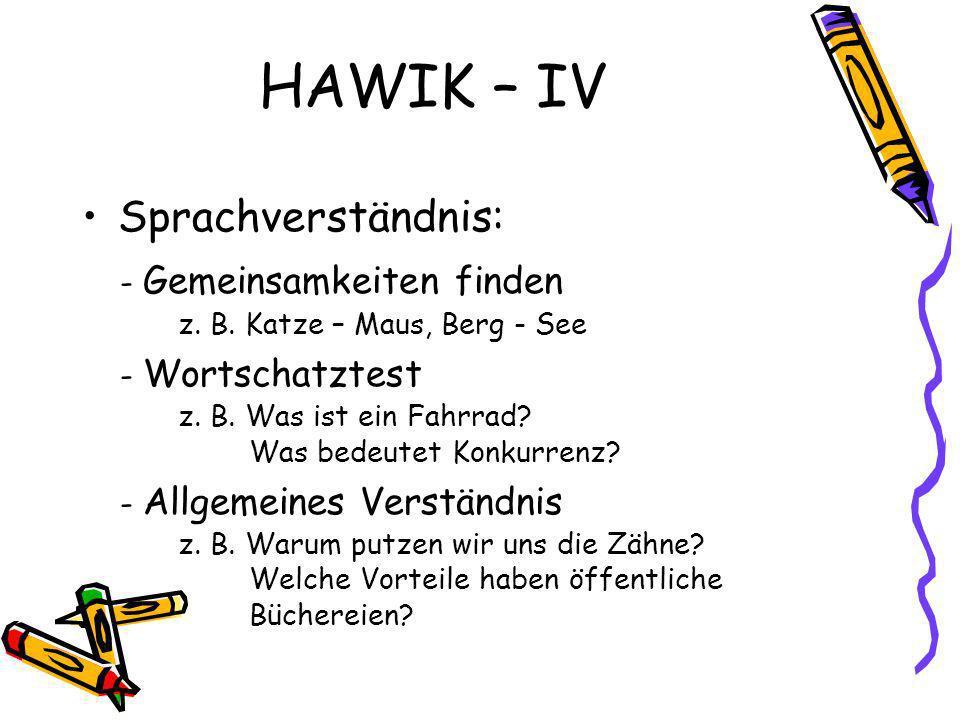 HAWIK – IV Sprachverständnis: