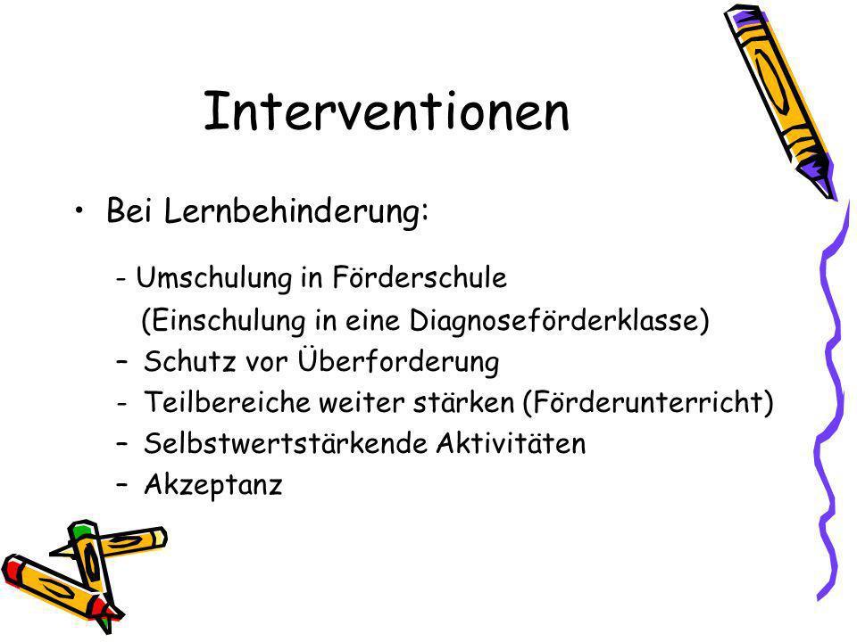 Interventionen Bei Lernbehinderung: - Umschulung in Förderschule
