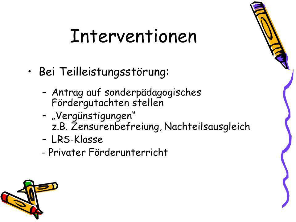 Interventionen Bei Teilleistungsstörung: