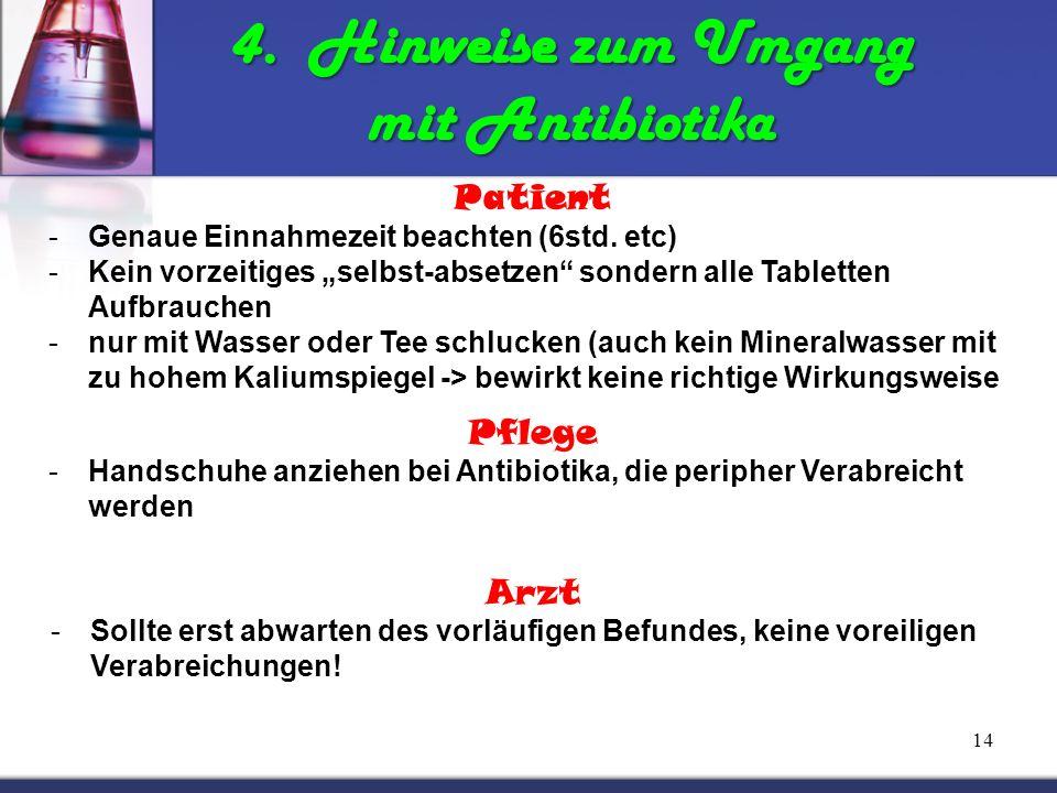 4. Hinweise zum Umgang mit Antibiotika