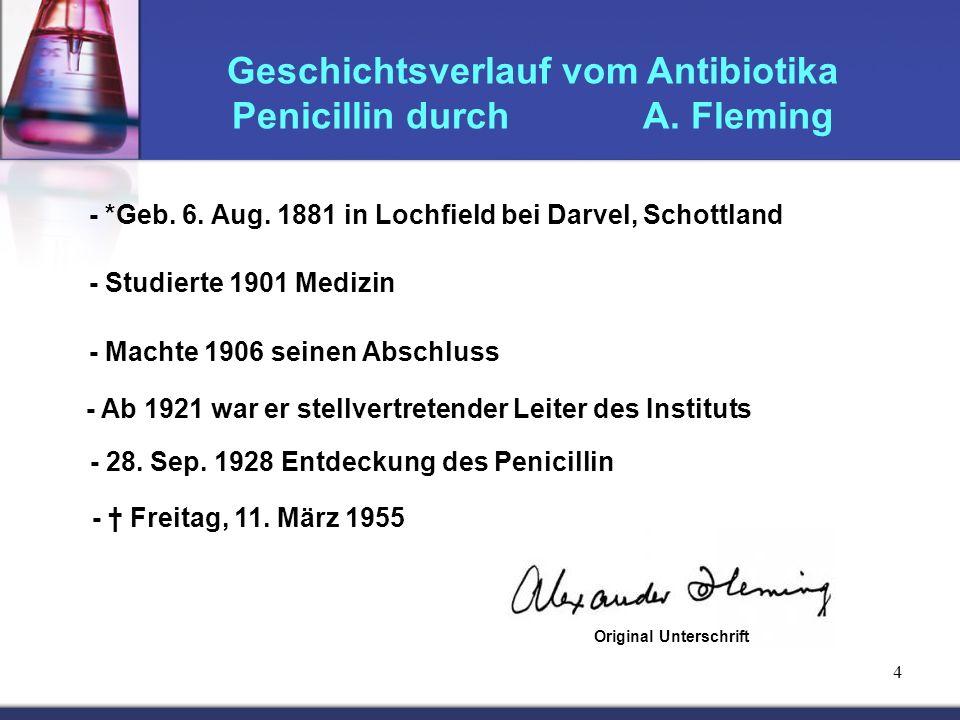 Geschichtsverlauf vom Antibiotika Penicillin durch A. Fleming