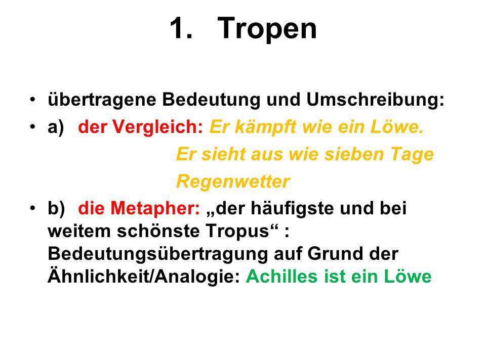 1. Tropen übertragene Bedeutung und Umschreibung: