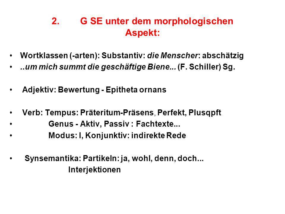 2. G SE unter dem morphologischen Aspekt: