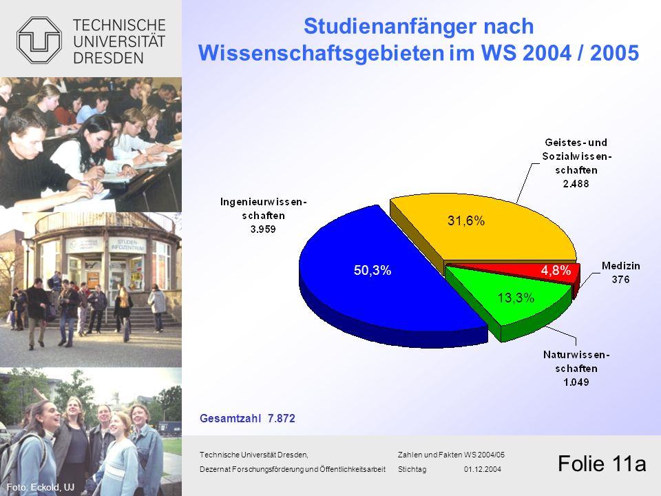 Studienanfänger nach Wissenschaftsgebieten im WS 2004 / 2005