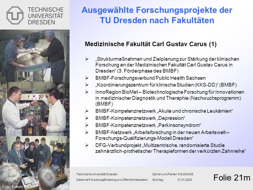 Ausgewählte Forschungsprojekte der TU Dresden nach Fakultäten