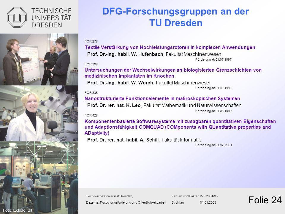 DFG-Forschungsgruppen an der TU Dresden