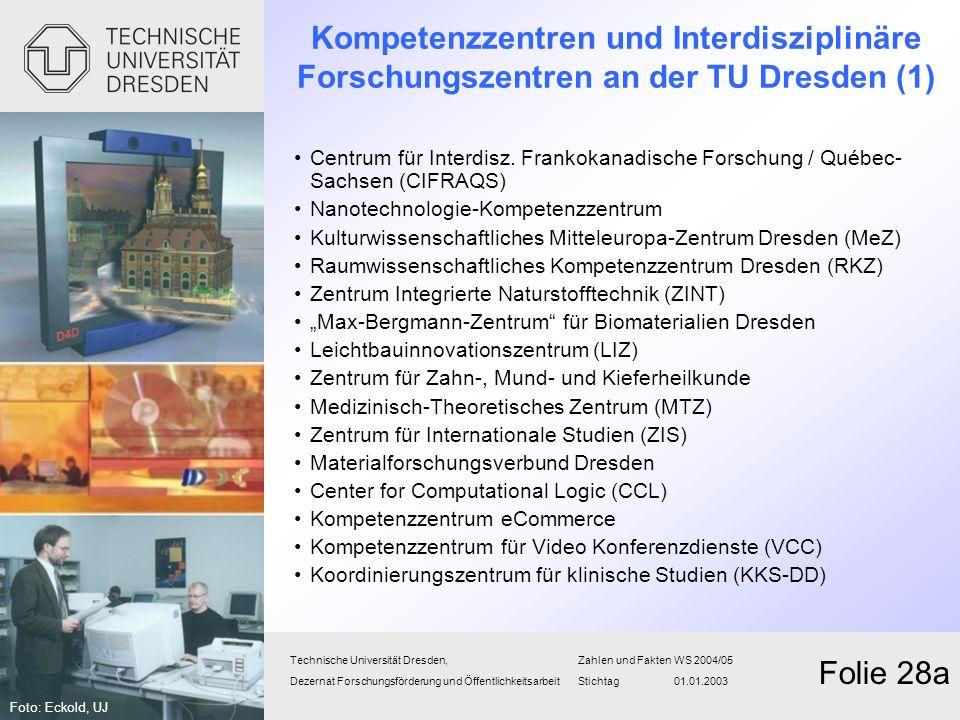 Kompetenzzentren und Interdisziplinäre Forschungszentren an der TU Dresden (1)